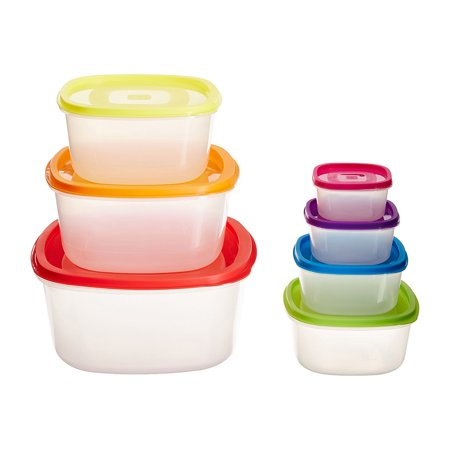 Plastic 7 (7 Pcs. Stackable Multi-colored Fresh Plastic Food Storage Containers with)