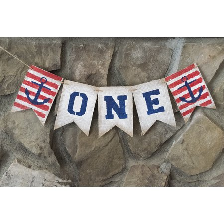 Nautical One Banner for First Birthday Party Decoration - Nautical 1st Birthday