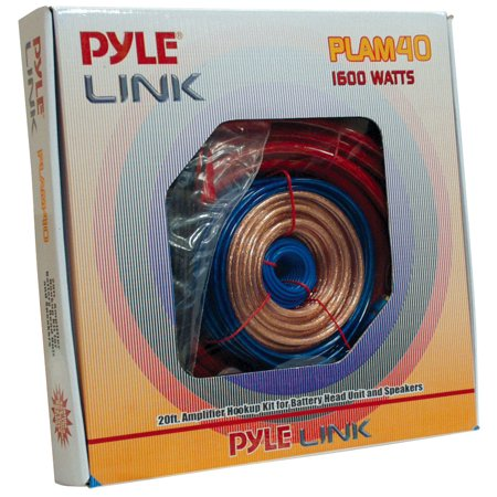 PYLE PLAM40 - Car Audio Cable Wiring Kit - 20ft 8 Gauge Powered 1200 Watt Complete Amplifier Hookup for Battery, Head Unit & Stereo Speaker Installation Sound System (Car Head Unit Installation Kit)
