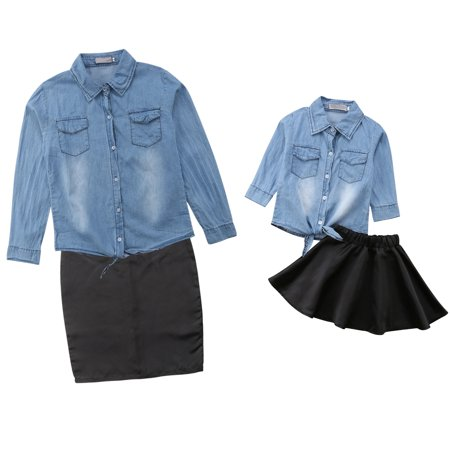 Mommy and Me Matching Long Sleeve Demin T Shirt Tops+Skirt Dress Family Outfits Clothes