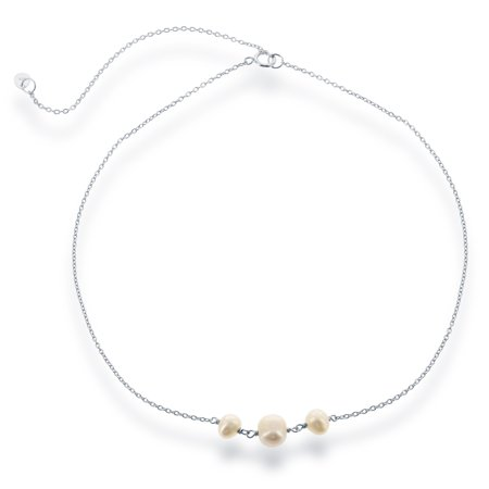 Pearl Necklace Choker - Sterling Silver 12