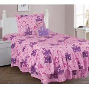 4 PIECE TWIN PRINCESS PALACE Double Ruffle Kids Comforter Bedding Set With Fitted Sheet and Furry Fr