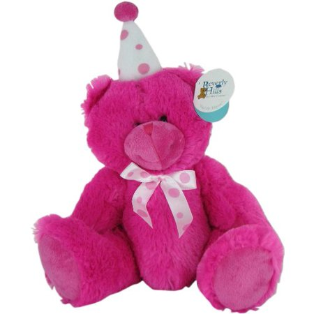 Pink Birthday Bear with Party - Birthday Beer