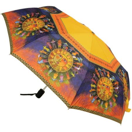 """Laurel Burch Compact Umbrella 42"""" Canopy Auto Open/Close-Harmony Under The Sun"""