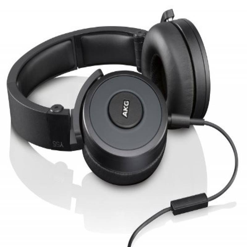 AKG Y55 Black DJ-Ready Headphones with Enriched Bass, Snug Fit and In-Line Remote/Microphone with Volume Control, Black