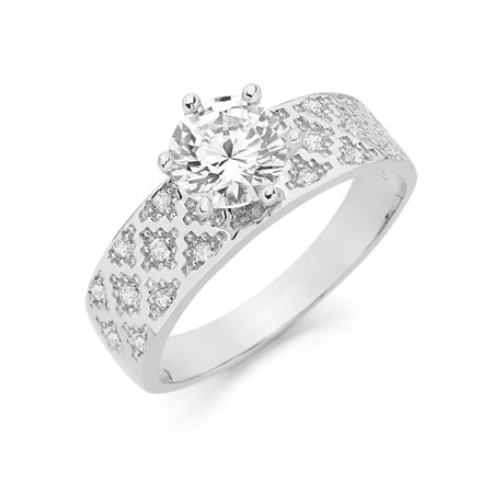 14K White Solid Gold 1 Ct. Round Cut Cubic Zirconia CZ Studded Wedding Engagement Ring - size 7