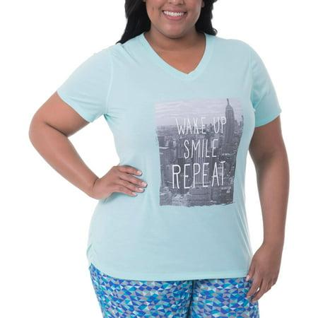 f0d56d7a739 Danskin Now - women s plus-size active graphic short sleeve v-neck tee -  Walmart.com