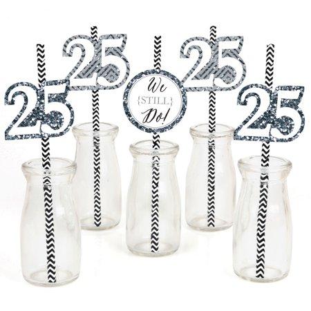 We Still Do - 25th Anniversary - Paper Straw Decor - Anniversary Party Striped Decorative Straws - Set of