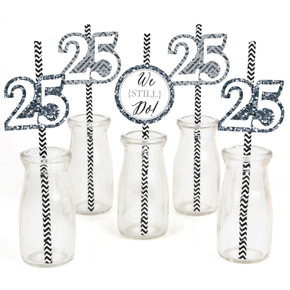 We Still Do - 25th Anniversary - Paper Straw Decor - Anniversary Party Striped Decorative Straws - Set of 24