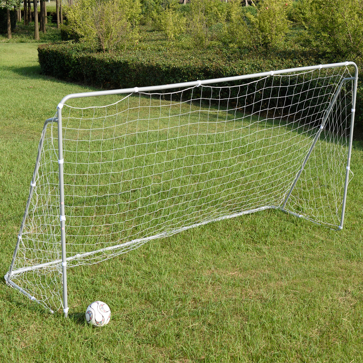 Costway Soccer Goal 12' X 6' Football W net Straps, Anchor Ball Training Sets by Costway