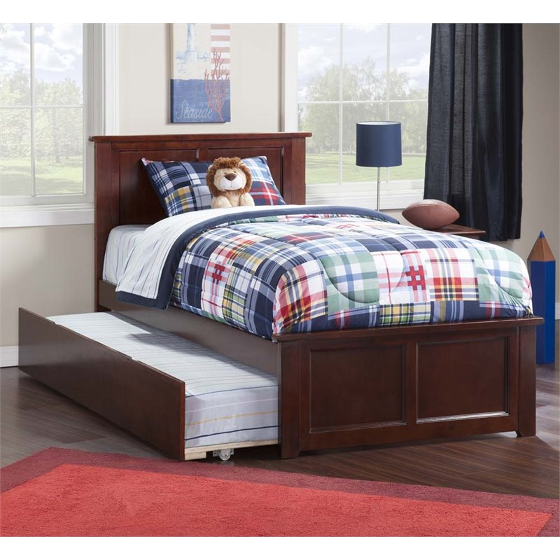 Madison Twin Platform Bed with Matching Foot Board with Twin Size Urban Trundle Bed in Walnut by Atlantic Furniture