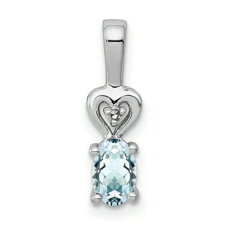 Aquamarine Pendant Set (925 Sterling Silver Blue Aquamarine Diamond Pendant Charm Necklace Birthstone March Set For Women )