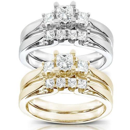 Annello 14k Gold 1/2 ct TDW Princess Diamond Bridal Ring Set (HI, I1-I2) Yellow - Size 8