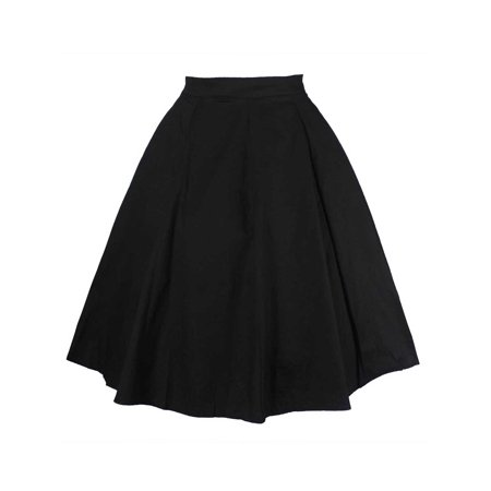 Women High Waist Vintage A-line Cocktail Party Swing Skirt Casual Floral Retro Pleated Mini Skater Flared Skirt Dress