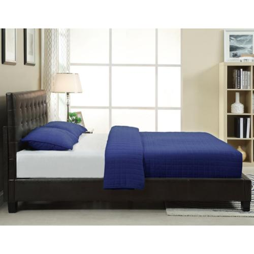 Button-tufted Chocolate Synthetic Leather Upholstery Platform Bed Frame Full