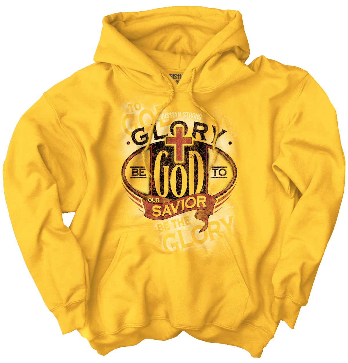Christian Hooded Sweatshirt Glory Be To God Savior Jesus Christ Faith Religious by Christian Strong