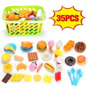 Deluxe Tasty Treats Pretend Play Food??Kids Pretend Food Kitchen Toys Play Food for Kids- 35 Piece Plastic Food Set for Children Girls Boys Educational Early