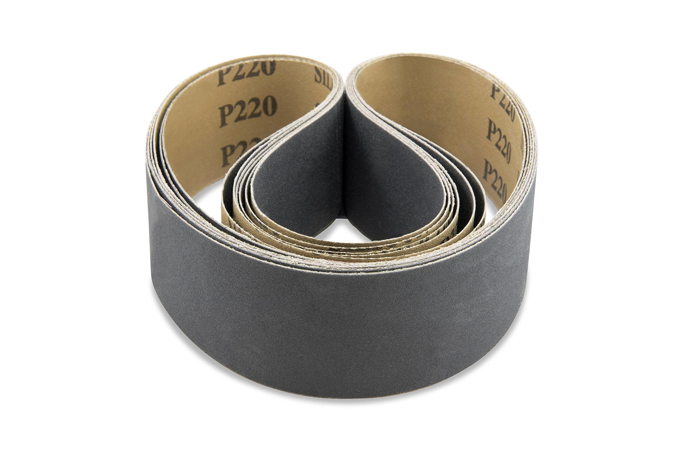 2 X 36 Inch 80 Grit Silicon Carbide Sanding Belts 6 Pack