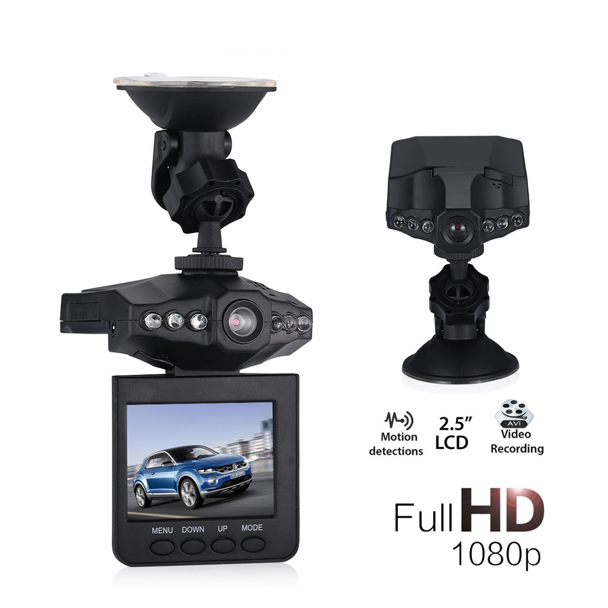 "2.5"" Full HD Dashcam with Night Vision 1080P 6 LED Car Video Recorder Dash Camera DVR G-sensor Car Recorder"
