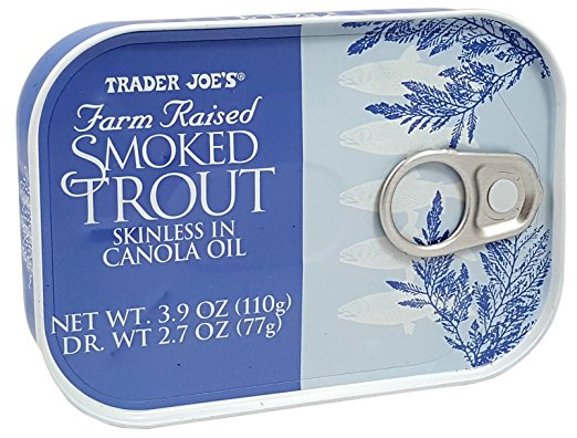 Smoked Trout Fillets in Oil, Skinless, (Pack of 3), 3.9 oz Tin Trader Joe's by