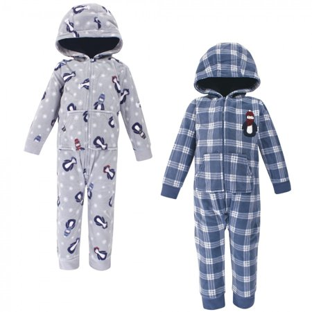 Hudson Baby Toddler Boy Fleece Jumpsuits, Coveralls, and Playsuits 2pk, Blue Penguin, 5 Toddler