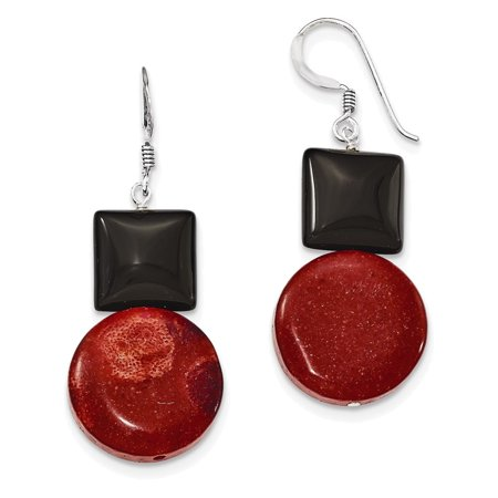 Sterling Silver Black Agate & Reconstituted Red Coral Earrings