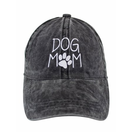 Dog Mom Black Cotton Baseball Cap Hat - Mountain Dog Hat
