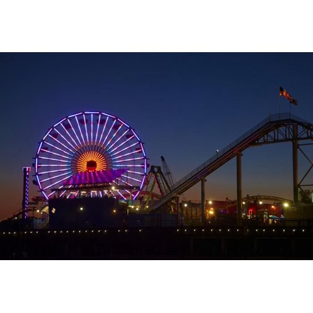 Los Angeles, Santa Monica, Ferris Wheel and Roller Coaster Print Wall Art By David Wall