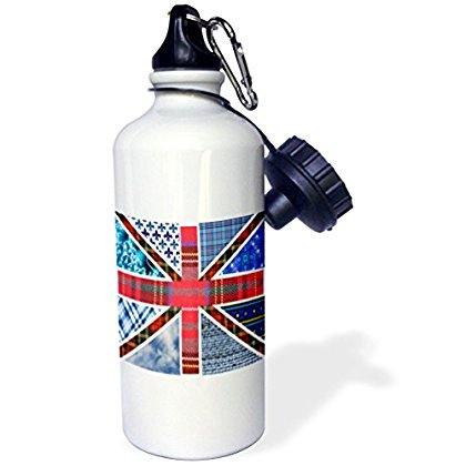 3Drose Contemporary Trendy Patterned Union Jack English Flag   Modern Great Britain United Kingdom England  Sports Water Bottle  21Oz