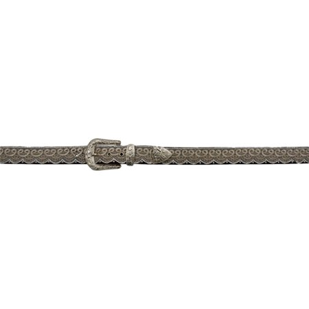 Angel Ranch Western Belt Womens Lace Bead Overlay Croc Brown A3650