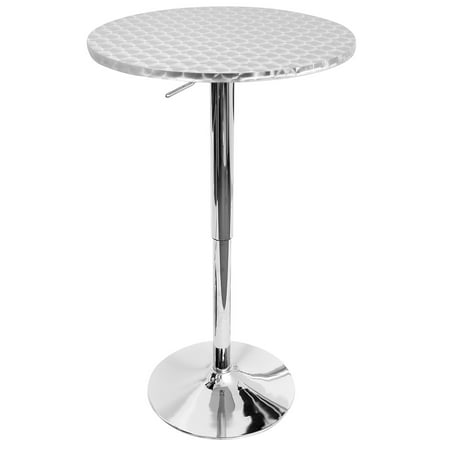 Bistro Contemporary Adjustable Round Bar Table in Silver by LumiSource