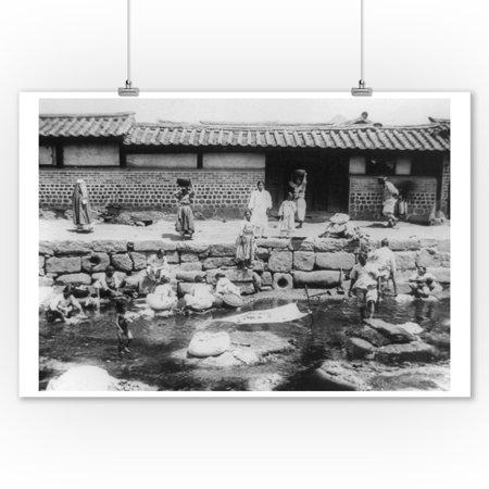 Women Washing Laundry in Stream in Korea Photograph (9x12 Art Print, Wall Decor Travel (Best Korean Drama Streaming)