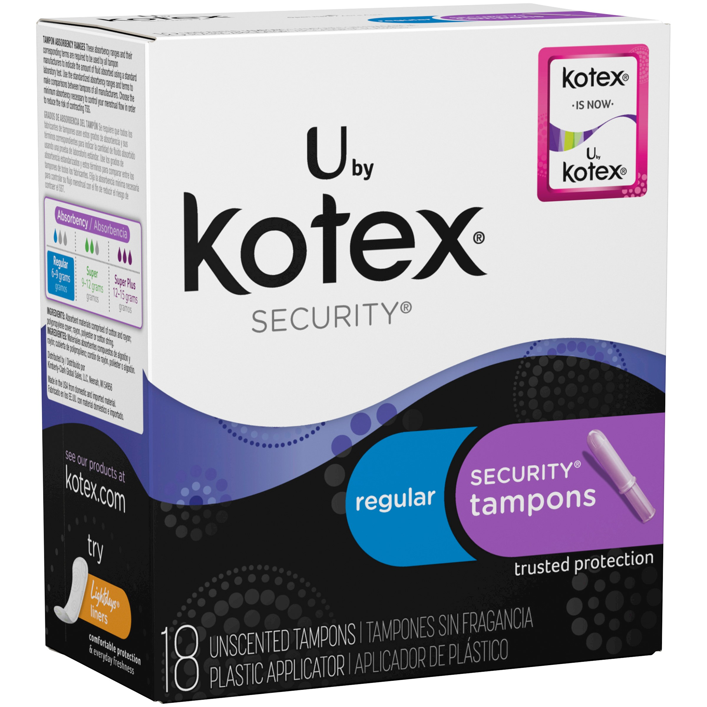U By Kotex Security Tampons Regular, 18 Count