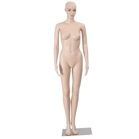 Costway Female Mannequin Plastic Realistic Display Head Turns Dress Form w/ Base - Halloween Mannequin Head