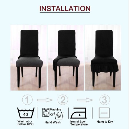 Spandex Stretch Washable Kitchen Stool Chair Cover Protector Slipcovers Black - image 4 of 7