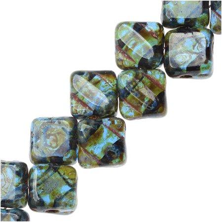 Czech Glass 2-Hole Silky Beads, 6mm Diamond Shape, 40 Pieces, Sapphire Picasso