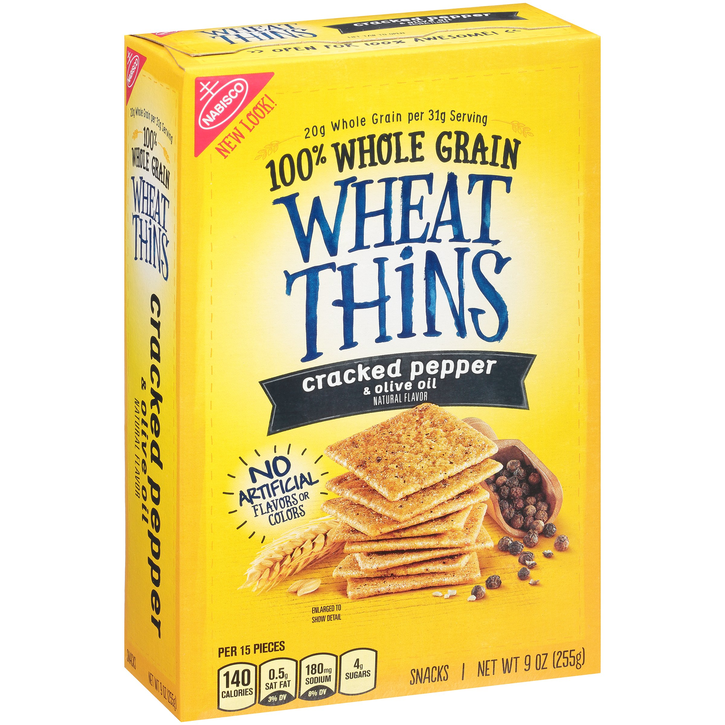 (2 Pack) Nabisco Wheat Thins Cracked Pepper & Olive Oil Snacks 9 oz. Box