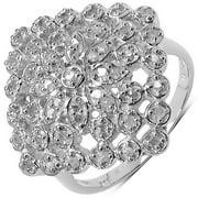 Malaika  .925 Sterling Silver 0.34 Ct White Diamond Cluster Ring