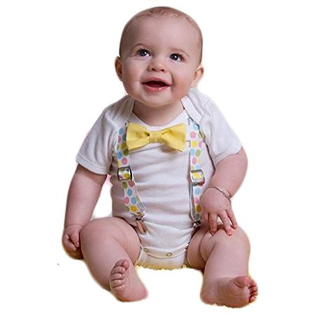 Noah's Boytique Baby Boys Easter Bunny Picture Outfit Dots Yellow Bow Tie Newborn (Easter For Toddlers)