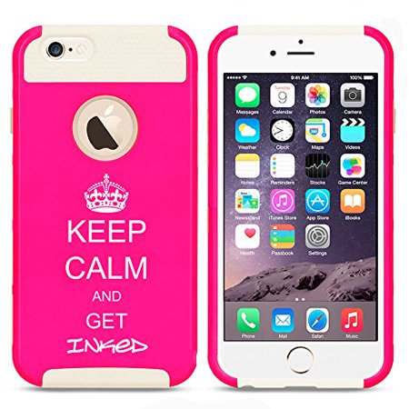 For Apple (iPhone 8) Shockproof Impact Hard Soft Case Cover Keep Calm And Get Inked Tattoo (Hot Pink-White) ()