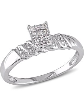 1/10 Carat T.W. Round and Parallel Baguette Diamond Sterling Silver Cluster Engagement Ring