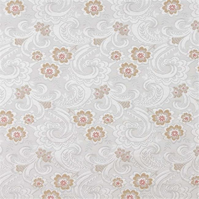 Designer Fabrics D123 54 in. Wide Silver, White And Mahogany Red, Paisley Floral Brocade Upholstery Fabric
