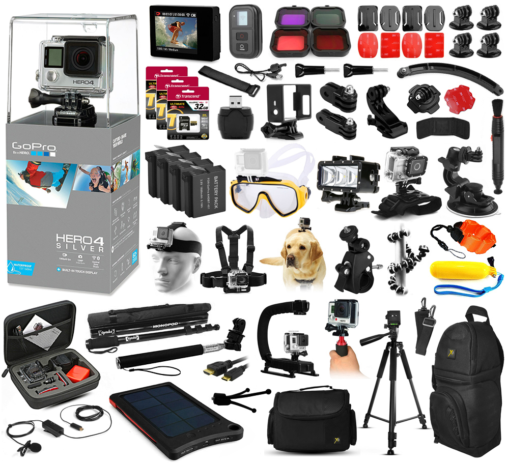 Buy GoPro Hero 4 HERO4 Silver Edition CHDHX-401 Kit with 160GB Memory + Diving Mask + Waterproof LED Light + LCD Display +... by GoPro