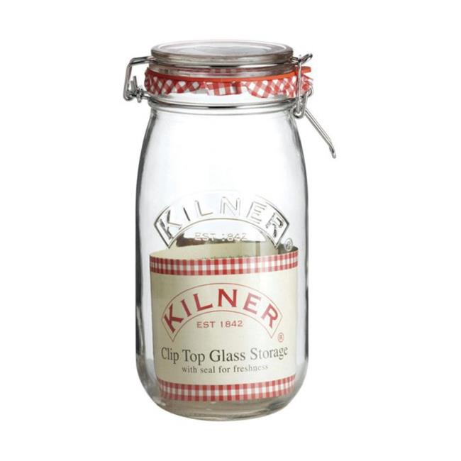 Kilner 25492 1.5 Litre Clear Glass Clip Top Jar, Pack of 12