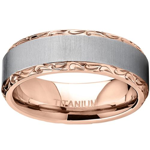 Oliveti Rose Gold Plated Titanium Hand-engraved Wedding Comfort-fit Band Size 12