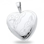 Solid 14k White Gold Heart Locket Engraved Pendant Flower Heart Charm Holds Pictures 16 x 16 mm