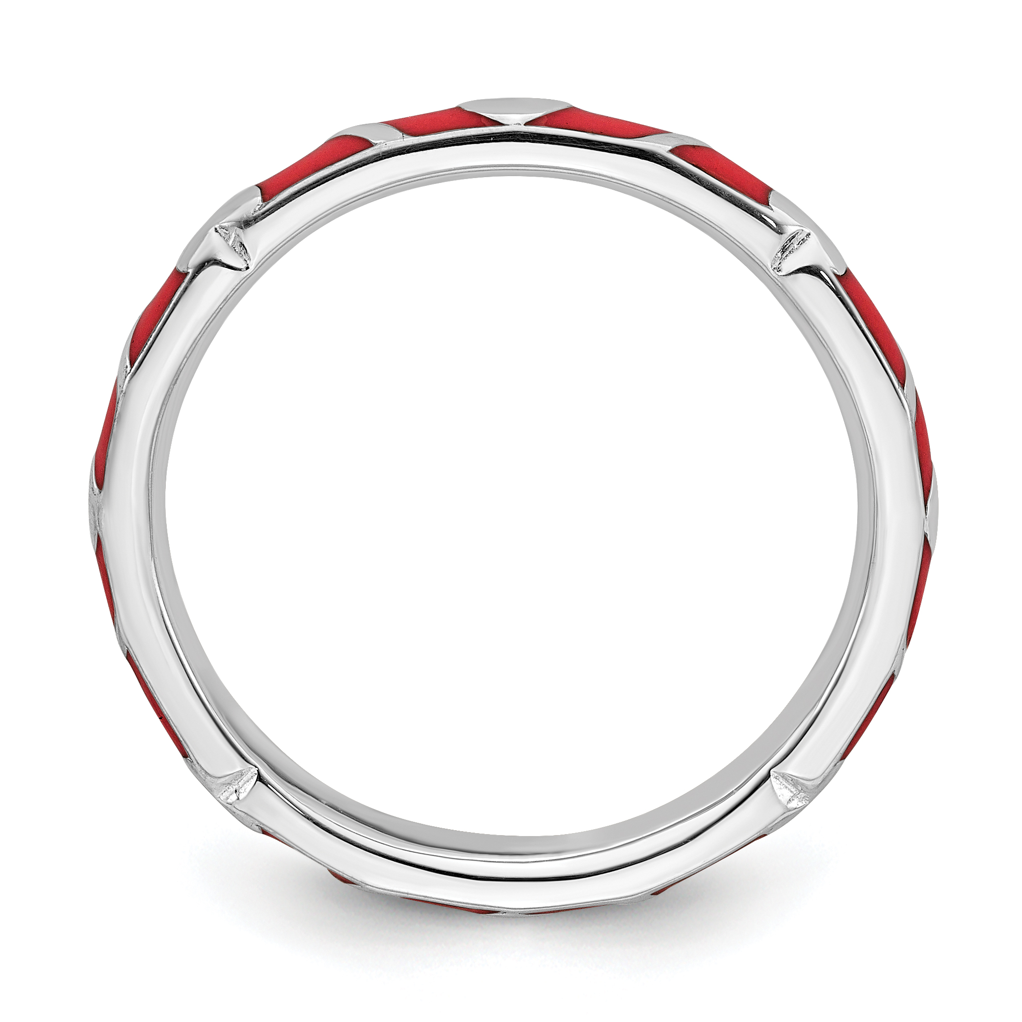 Sterling Silver Stackable Expressions Red Enamel Heart Ring Size 8 - image 2 de 3