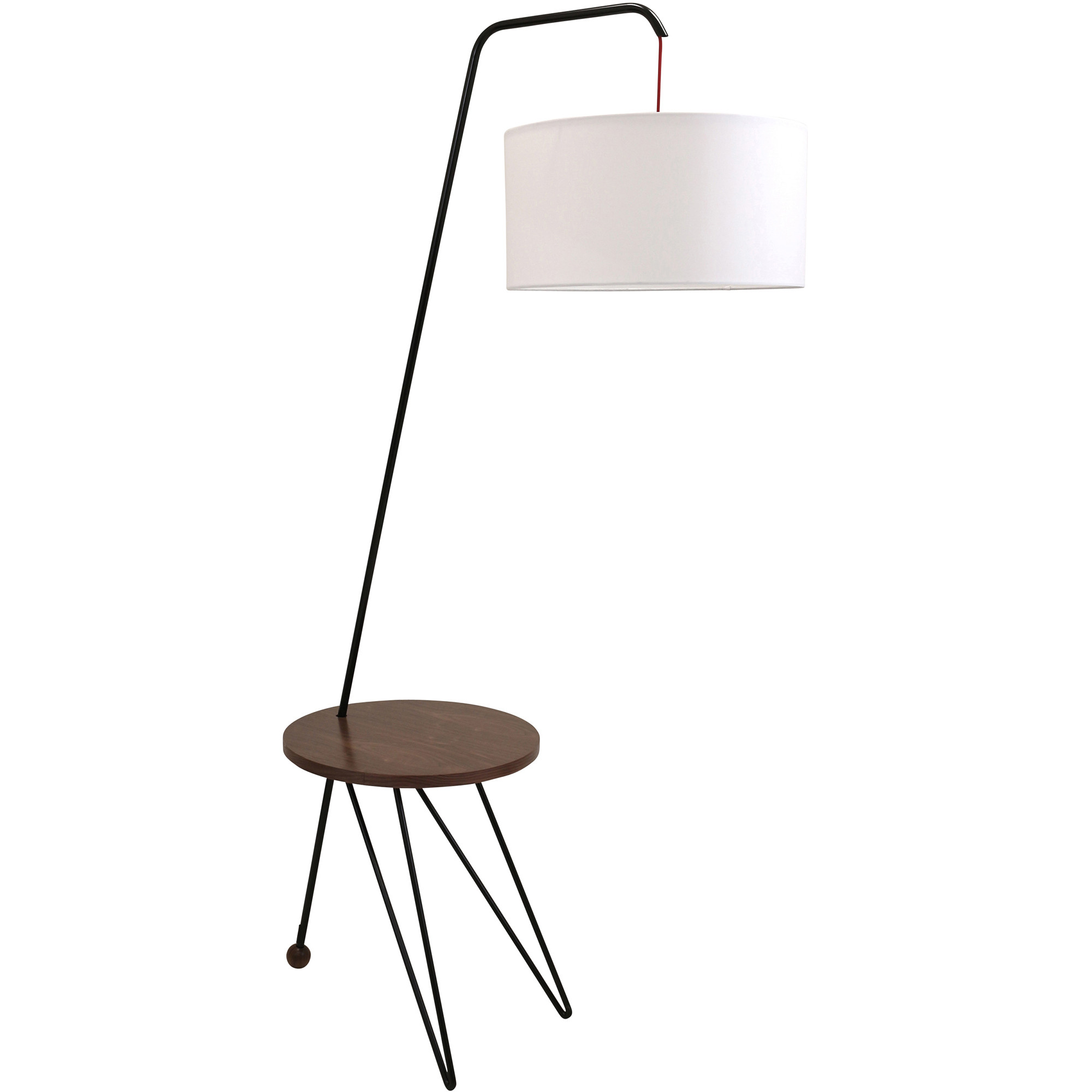 Stork Mid Century Modern Floor Lamp With Walnut Wood Table Accent By  LumiSource   Walmart.com