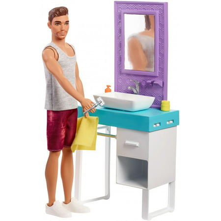 Barbie Bathroom-Themed Playset with Shaving Ken Doll and Sink/Mirror