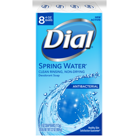 Diamonds White Dial - Dial Antibacterial Deodorant Bar Soap, Spring Water, 4 Ounce, 8 Bars